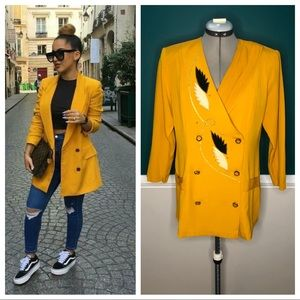 Vintage mustard yellow gold double breasted blazer